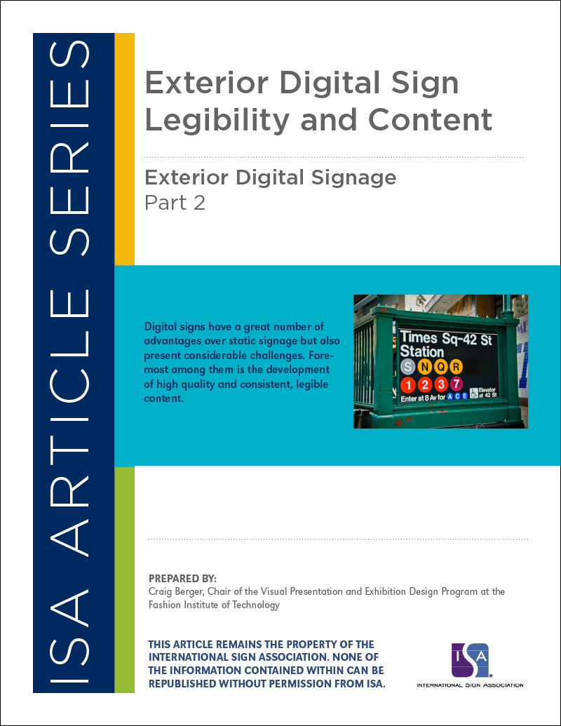 Exterior Digital Signage, Article Series: Part 2 Exterior Digital Signs Legibility and Content